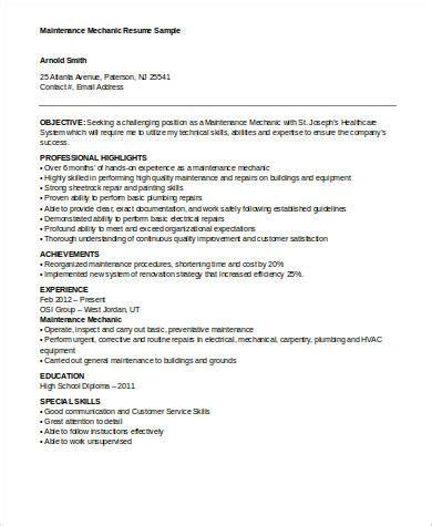 sle mechanic resume 9 exles in word pdf