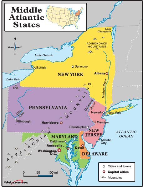 middle state middle atlantic states map by maps from maps