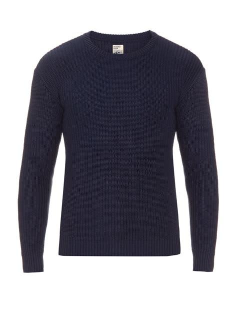 Sweater Navy Mt Rainier Design Summer Textured Knit Sweater In Blue