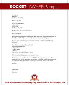 Request For Divorce Decree Letter Divorce Records Request Letter Template With Sle