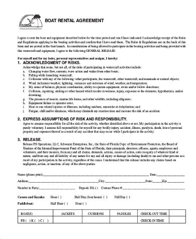 Rental Agreement Sle Form 10 Free Documents In Doc Pdf Free Boat Agreement Template