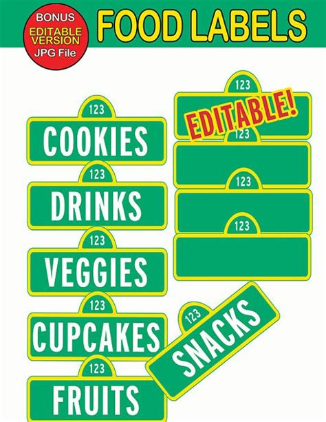 Sesame Street Food Labels Food Tags Signs By Partysuperhero 4 00 So Eventful Pinterest Food Signs Template