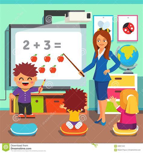 Discribe A Floor Plan For Preschool Classroom - children studying in classroom stock vector image 60851342