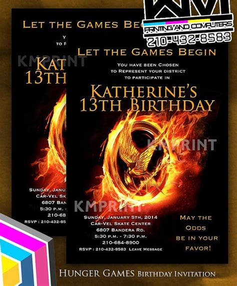 printable hunger games birthday invitations hunger games invitation for boys or girls 5x7 by