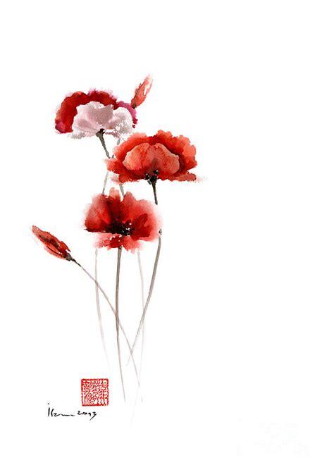 Wall Borders Stickers poppies flowers pink orange red poppy flower giclee fine
