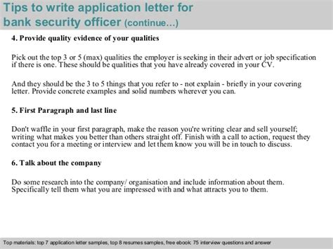 application letter for security bank security officer application letter