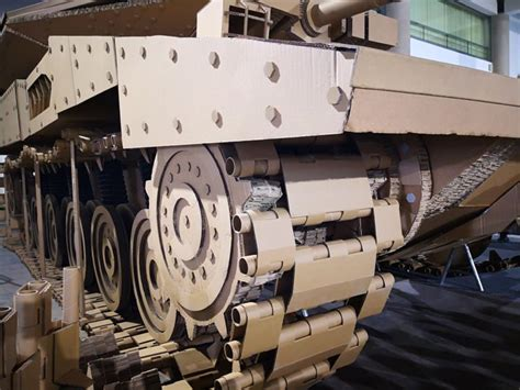 cardboard modelling experts build life size replica  israeli battle tank