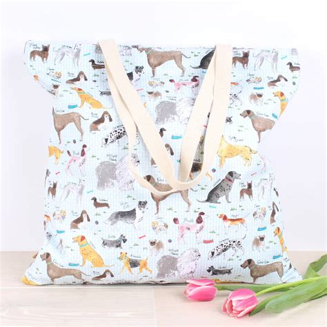 milly green pug debonair dogs large shopper by milly green notonthehighstreet