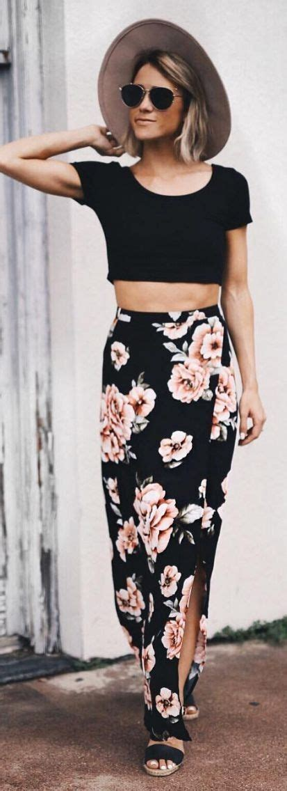 black top with floral maxi skirt styling ideas designers