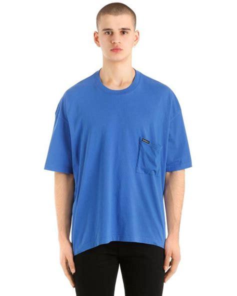 balenciaga oversized europe printed jersey t shirt in blue for lyst