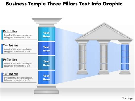 0914 Business Plan Business Temple Three Pillars Text Info Graphic Powerpoint Presentation Template Strategic Pillars Template