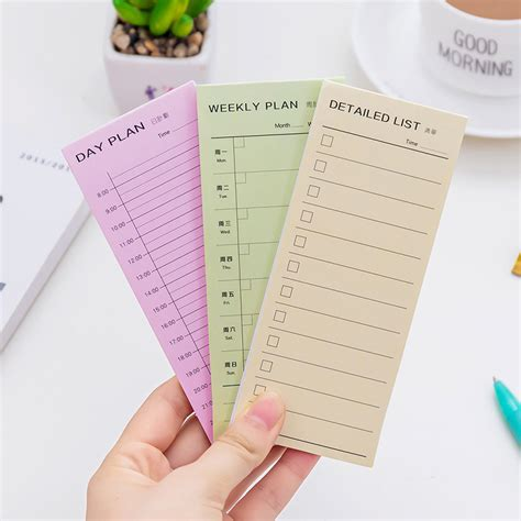 Weekly Plan Sticky Memo Pad Stick It Memo Limited 1 pcs daily weekly month planner check detailed list portable small memo pad sticky notes paper