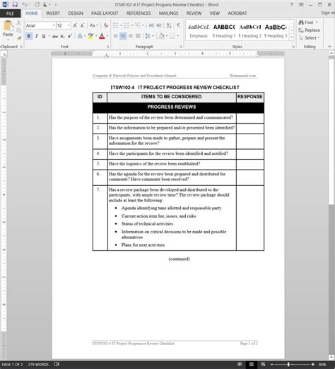 it project progress review checklist template