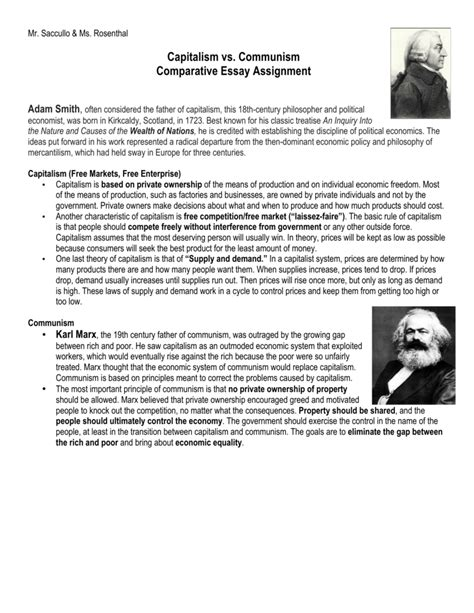 Communism Vs Capitalism Essays by Communism Versus Capitalism Essay Sle Of Inquiry Letter In Business
