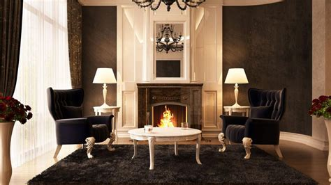 seating in front of fireplace black chairs in front of the fireplace hd desktop