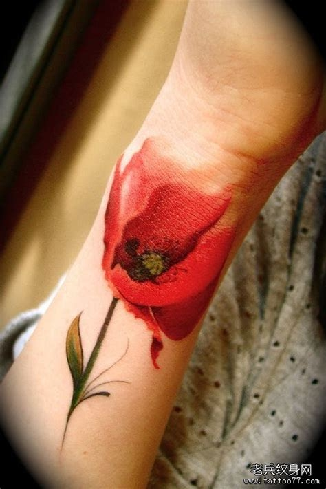 一款精致水墨玫瑰花纹身图案