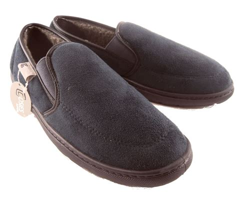 warm house shoes mens cosies micro suede warm lined slippers blue brown ebay