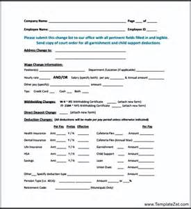 payroll change notice form template employee payroll change form templatezet