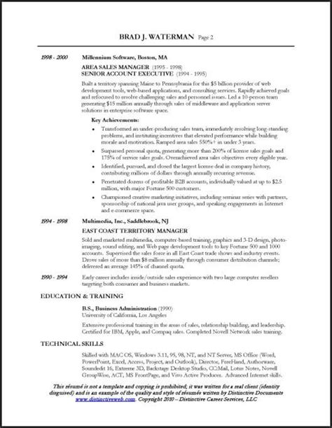 Sle Professional Resume Executive Resume Sle For A Sales Executive