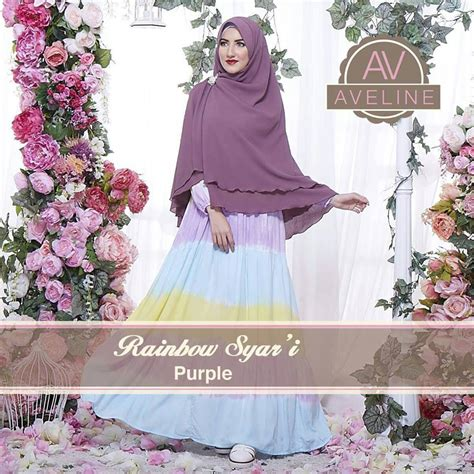 Baju Wanita Muslimah Zipper Rainbow Warna Pink rainbow purple baju muslim gamis modern