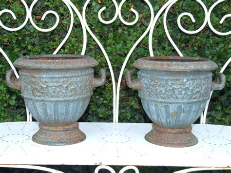 Cast Garden Planters by G149 Pair Vintage Cast Iron Garden Planters