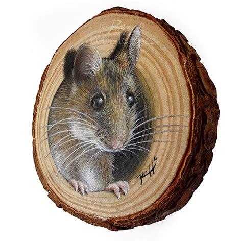 mouses lair  unique wood slice painting  decorate