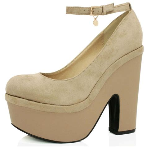 beige suede style demi wedge shoes buy beige suede style