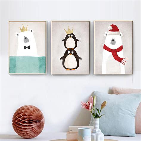 style modern nordic cute animals bear hippo penguins