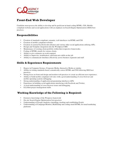 Web Developer Responsibilities by Entry Level Front End Web Developer Description