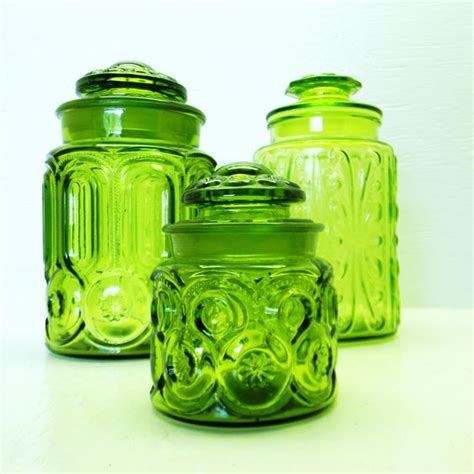 vintage green glass l vintage green glass canister jars l e smith moon