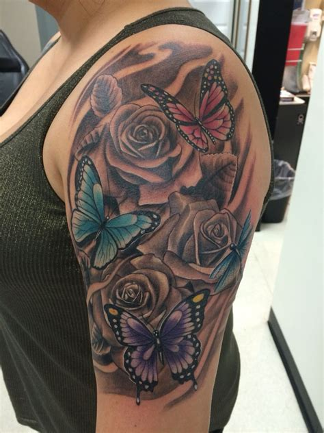 roses with butterflies tattoos flowers and butterflies flowertattoodesigns flower