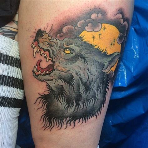 tattoo modern gallery modern traditional colored thigh tattoo of werewolf with