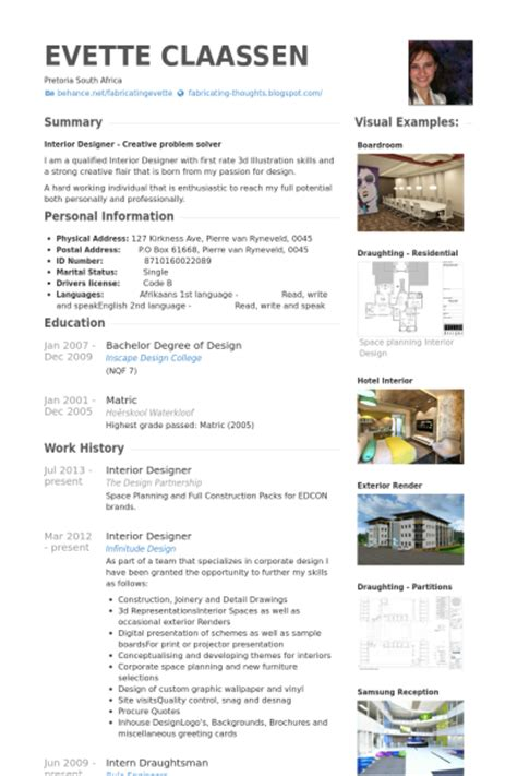 cv template for interior designers interior designer resume sles visualcv resume sles