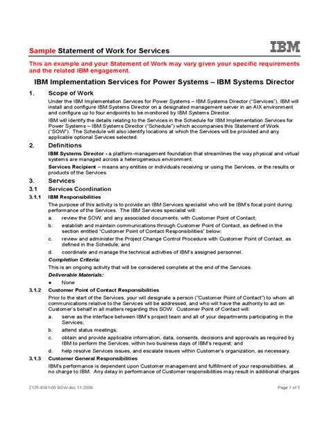 Sle Statement Of Work For Services Ibm Free Download Statement Of Work Template Doc