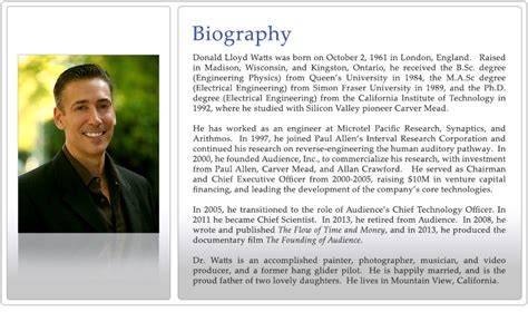 Biography Com | lloyd watts biography page