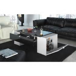 lucky table basse 123 cm noir et blanc haute brillance