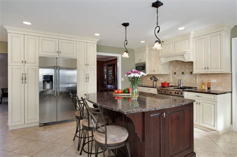 off white kitchen houzz off white kitchen with dark island barrington il