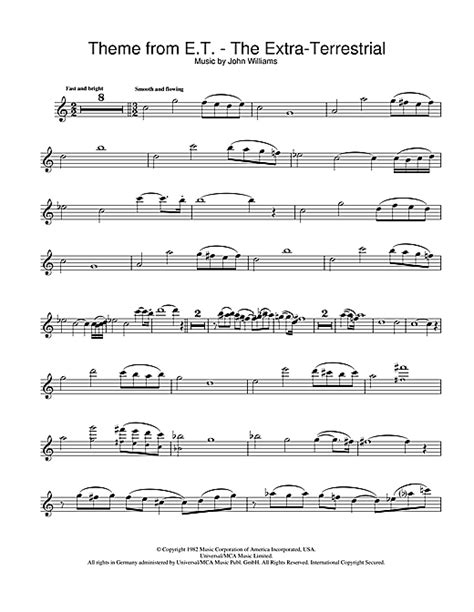 Theme Songs John Williams | theme from e t the extra terrestrial flute sheet music