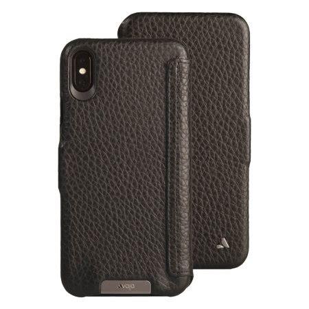 vaja folio iphone xs max premium leather case black