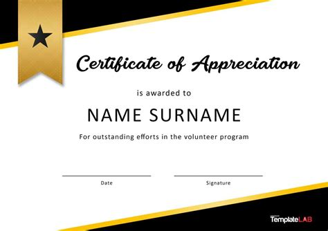 volunteer certificate of appreciation templates free 30 free certificate of appreciation templates and letters