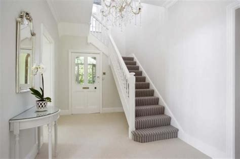 White Front Door Bright And Light With Stripe Stair Carpet Flooring