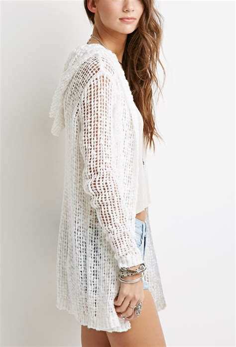 White Knit Cardigan 19834 forever 21 open knit hooded cardigan in white lyst