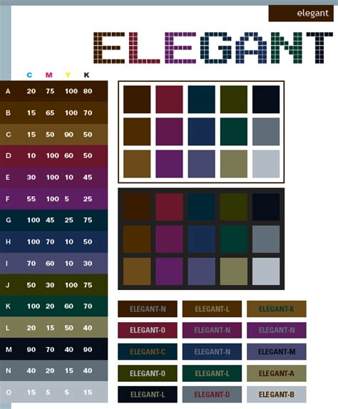 color combinations elegant color schemes color combinations color palettes for print cmyk and web rgb html