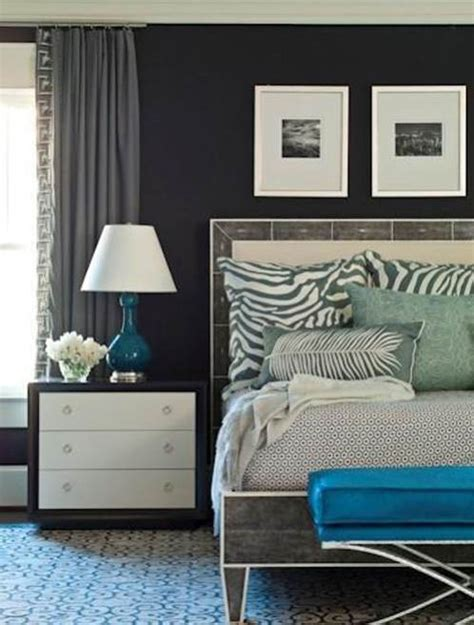 Grey Bedroom With Navy Accents Get The Look Brian Watford Grey And Teal Bedroom 171 The
