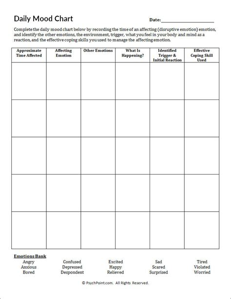 depression mood worksheets daily mood chart worksheet psychpoint