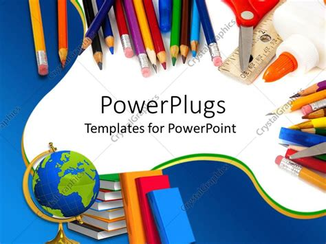 Powerpoint Template School Supplies With Pencils Globe Books Glue And Scissors On Blue And Free School Powerpoint Templates