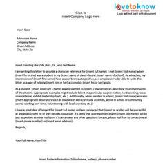 Exles Of Letters Of Recommendation For College