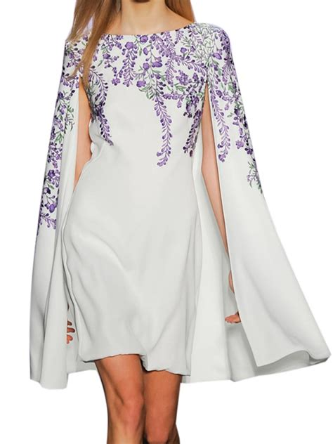 Sleeve Embroidery Dress white embroidery floral split sleeve shift cape dress choies