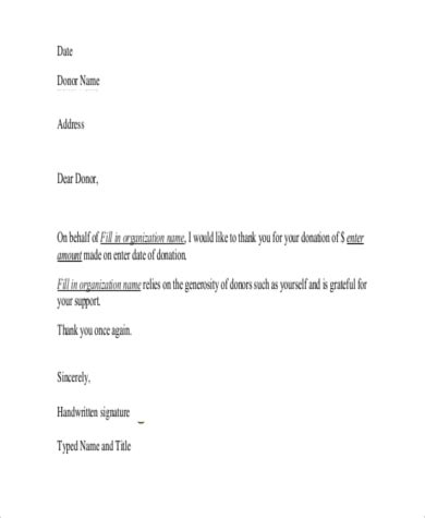 professional thank you letter after receiving donation sample with