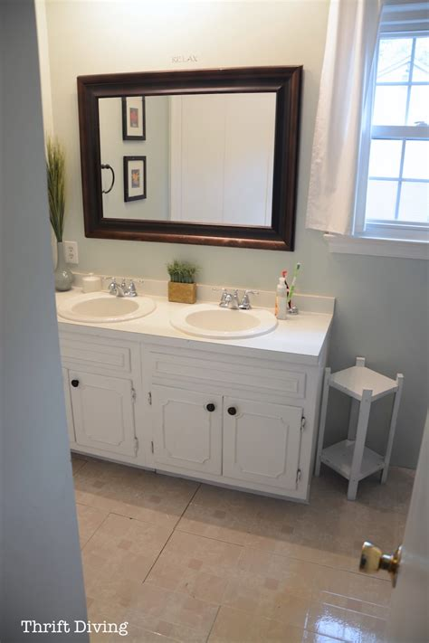 how to paint a wood bathroom vanity before after my pretty painted bathroom vanity
